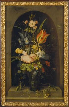 Flower still life in a niche
