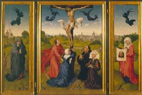 Crucifixion triptych with St. Mary Magdalene, St. Veronica and unknown Patrons