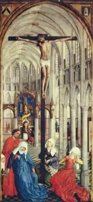 The seven sacraments, middle section -- crucifixion in a church