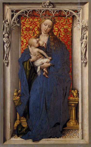Maria with the child at the chest. Panel of a Diptychons.
