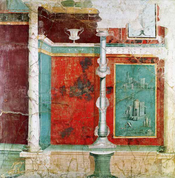 Architectural detail with a landscape, from Pompeii
