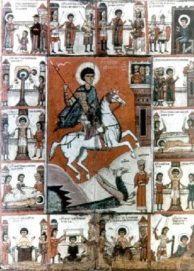 St. George surrounded by scenes from his life