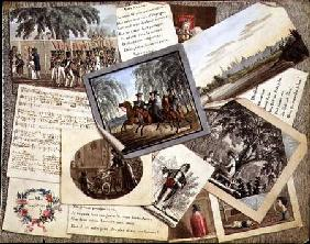 Trompe l'oeil collage of sheet music, greeting cards and poems