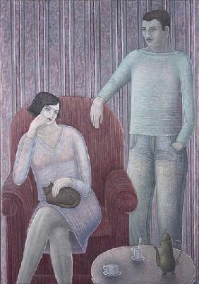 Couple with Cat, 2008 (oil on canvas)