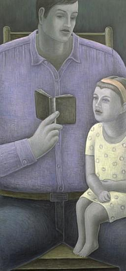 Man reading to Girl, 2003 (oil on canvas)