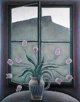 Tulips and Crag, 2001 (oil on canvas)