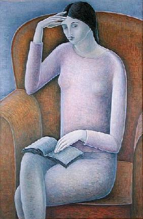 Woman Reading, 2003 (oil on wood)