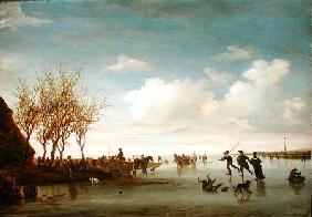 Dutch landscape with Skaters