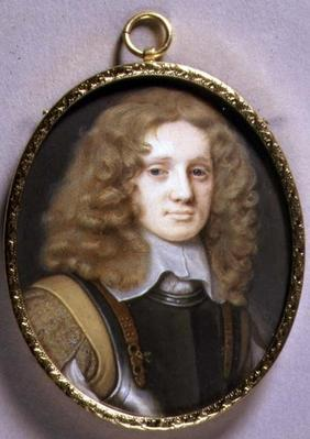 Portrait Miniature of a Man in Armour, c.1660 (w/c on vellum on card)