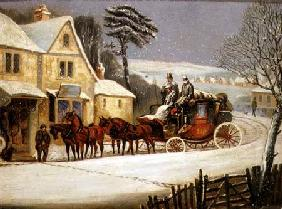 Winter Scene with the Royal Mail Halted at an Inn