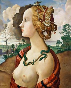 Copy of Simonetta Vespucci (1453-76) by Sandro Botticelli (1444/5-1510) (oil on canvas)