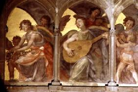Musical angels within a trompe l'oeil cloister, from the interior west facade