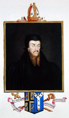 Portrait of Edmund Grindal (c.1519-83) Archbishop of Canterbury from 'Memoirs of the Court of Queen