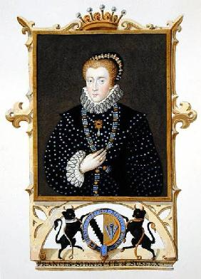 Portrait of Frances Sidney (d.c.1589) Countess of Sussex from 'Memoirs of the Court of Queen Elizabe