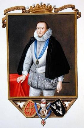 Portrait of Gilbert Talbot (1553-1616) 7th Earl of Shrewsbury from 'Memoirs of the Court of Queen El