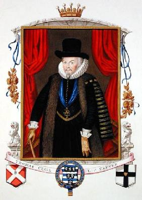 Portrait of Sir Thomas Cecil (1542-1623) 1st Earl of Exeter, 2nd Lord Burghley from 'Memoirs of the