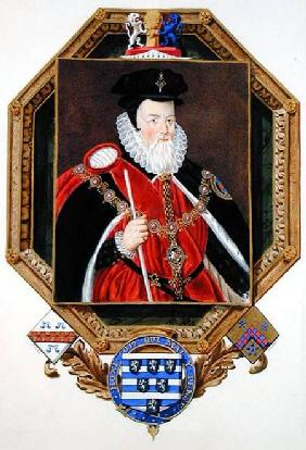 Portrait of William Cecil (1520-98) 1st Baron Burghley from 'Memoirs of the Court of Queen Elizabeth
