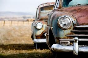 vintage cars abandoned in rural Wyoming