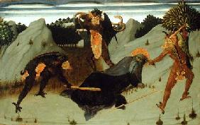 St. Anthony Beaten by Devils, panel from the Altarpiece of the Eucharist