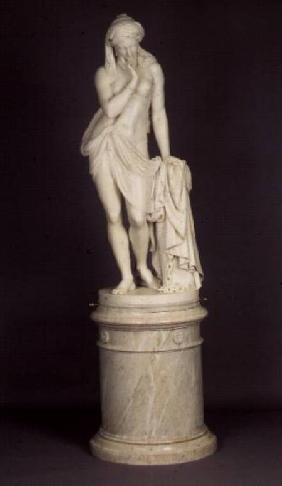 `Greek Slave Girl', on a circular pedestal, marble sculpture