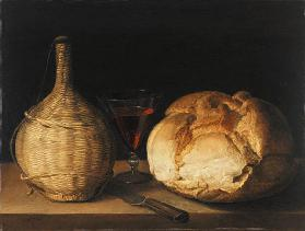 Quiet life with demijohn, goblet and bread.