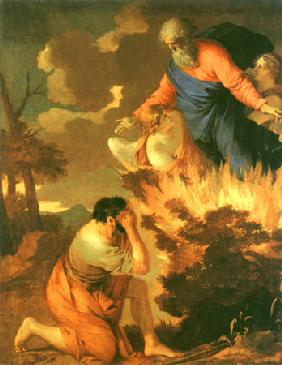 Moses in front of the burning thorn bush