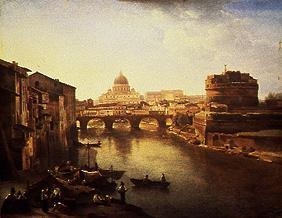 The new Rome. Tiber, angel castle and Petersdom.