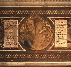 Maesta: Two-faced Figure Representing Old Law and New Law, detail from the frame