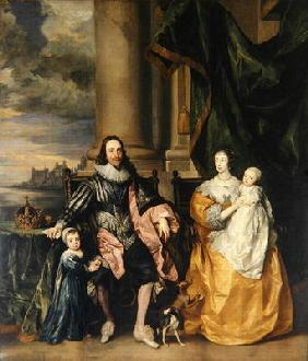 Charles I (1600-49) and his Family (oil on canvas)