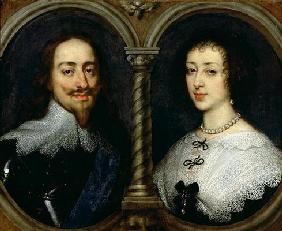 Charles I of England (1600-49) and Queen Henrietta Maria (1609-69) (oil on canvas)