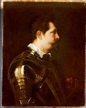 Portrait of a general, bust length, in damascened armour with white collar and red sash