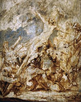 Sketch of the lifting of the cross, 1630 (oil & grisaille on wood)