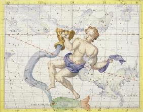 Constellation of Aquarius, plate 9 from 'Atlas Coelestis', by John Flamsteed (1646-1710), published