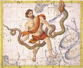 Constellation of Ophiucus and Serpens, plate 22 from 'Atlas Coelestis', by John Flamsteed (1646-1710