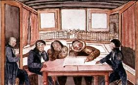 Two eskimos, Ikmalik and Apelaglui sketching the coast of King William Island on board the `Victory'