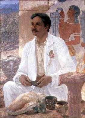 Portrait of Sir Arthur John Evans (1851-1941) among the ruins of the Palace of Knossos