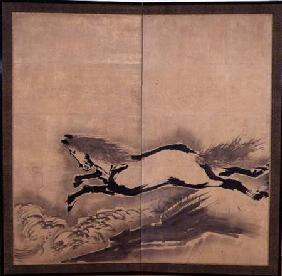 Horse Jumping, Japanese, Edo period