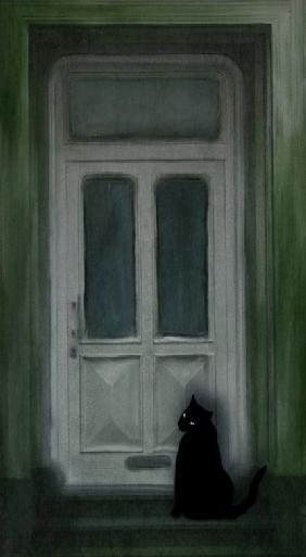 Black cat on the doorstep