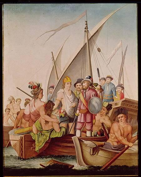 The arrival of hernando cortes 1485 154 spanish school as art print