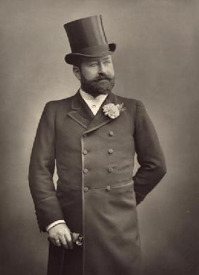 George Robert Sims (1847-1922), journalist and playwright, portrait photograph (b/w photo)