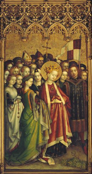 Three king altar in the cathedral of Cologne: St. Ursula with her retinue