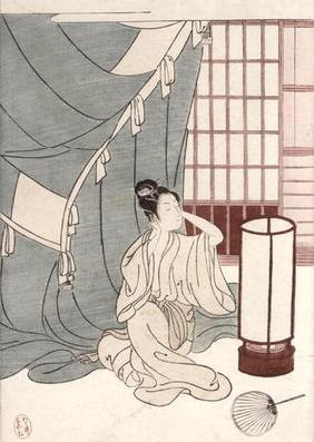 Young woman kneeling by her mosquito net, 1766 (colour woodblock print)