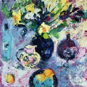 Still Life with Turquoise Bottle, 2002 (oil on canvas)