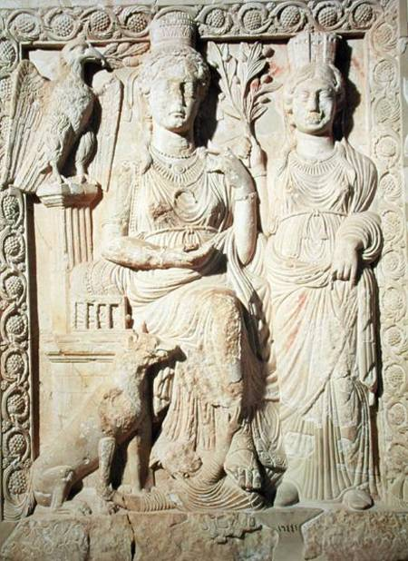 Relief depicting Princess Zenobia (d.p.272) and a female companion