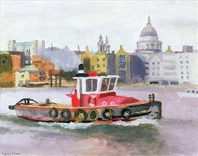 Red Tug passing St. Pauls, 1996 (w/c & gouache on paper)