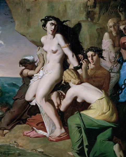 Нимфы. приковывают к скале Андромеду. . Теодор Шассерио. . 1840 г.