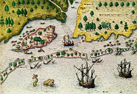 The Arrival of the English in Virginia, from ''Admiranda Narratio..'', 1585-88