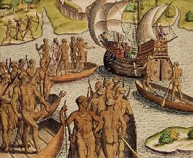 ''The Lusitanians send a second Boat towards me'', from ''Americae Tertia Pars...''