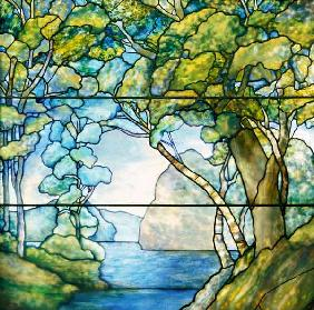 A Leaded Glass Landscape Window By Tiffany Studios, 1916
