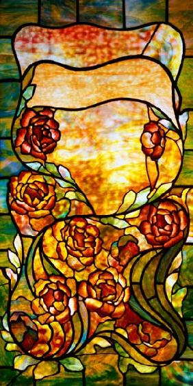 A Leaded Favrile Glass ''Peony'' Window Screen By Tiffany Studios